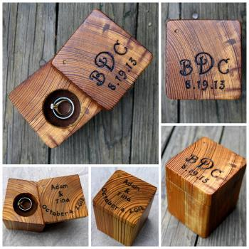Ring Box Rustic Wood - Personalized Rustic Ring Holder- Personalized Engagement- Rustic Wedding Ring Bearer Box