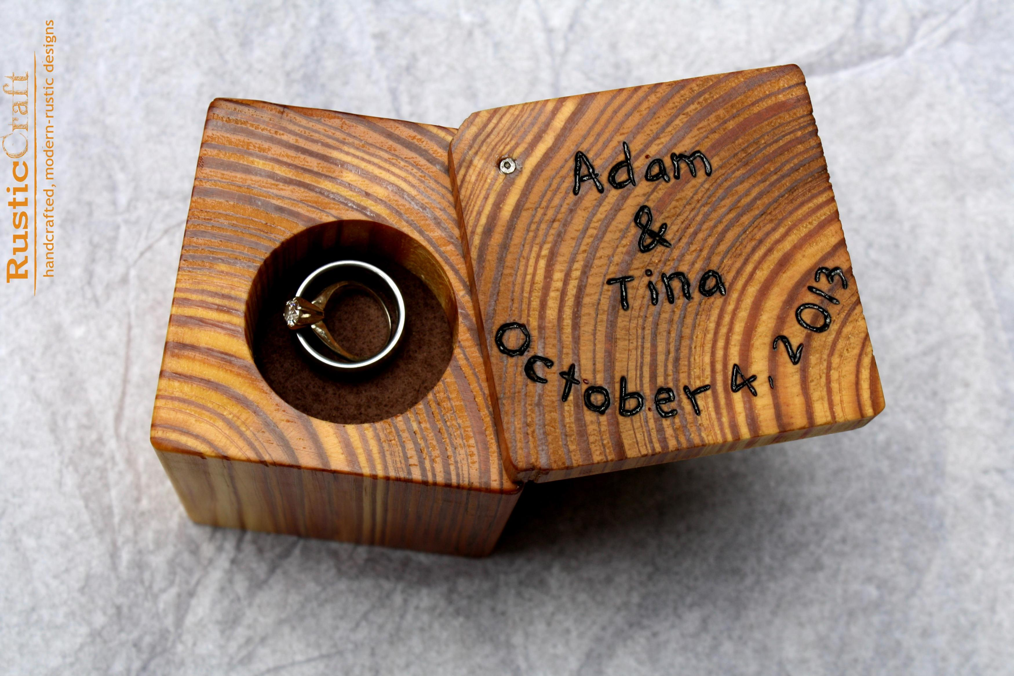 Ring Box Rustic Wood   Personalized Rustic Ring Holder  Personalized  Engagement  Rustic Wedding Ring On Luulla