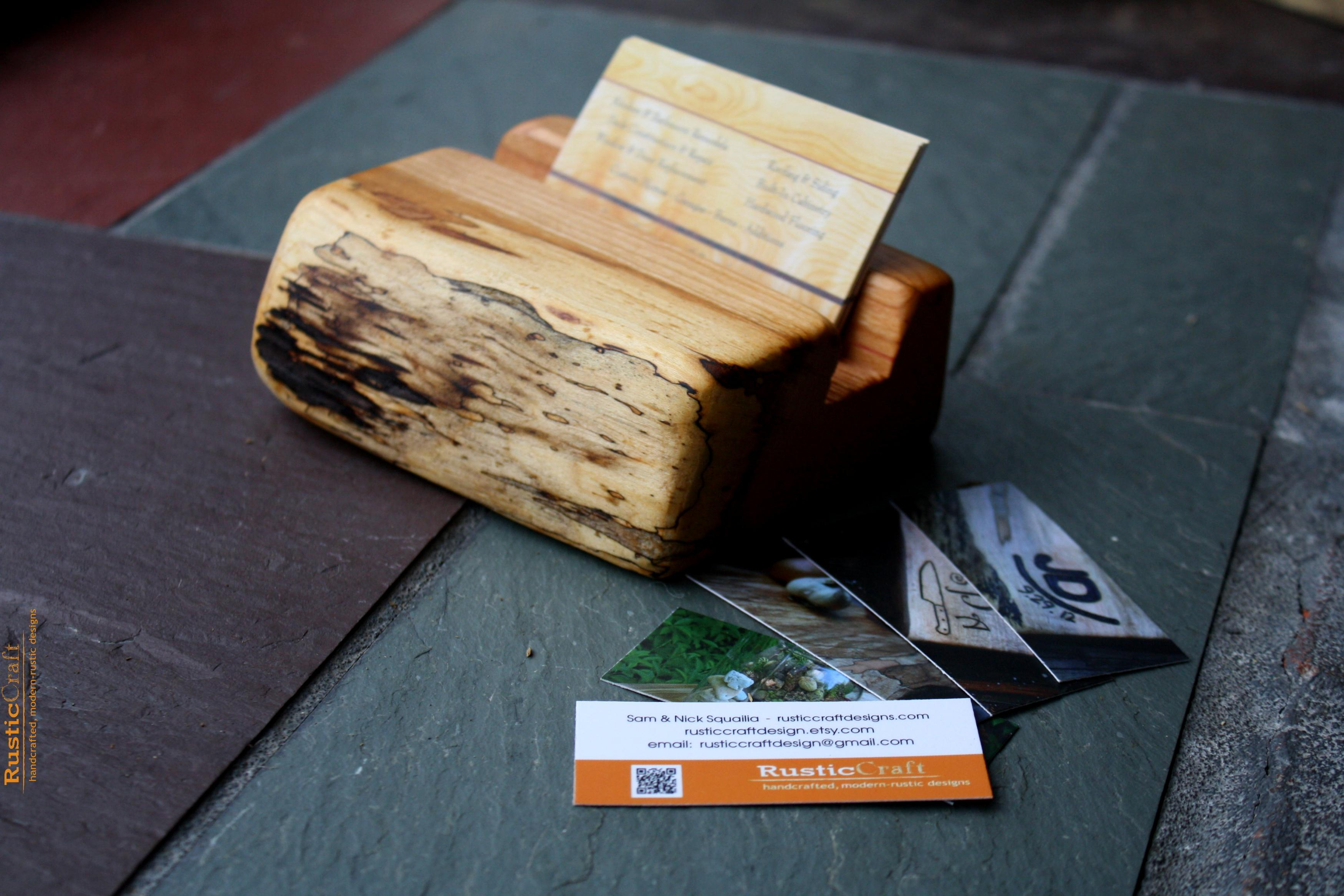 Wood Business Card Holder Rustic Live Edges Unique fice Gift
